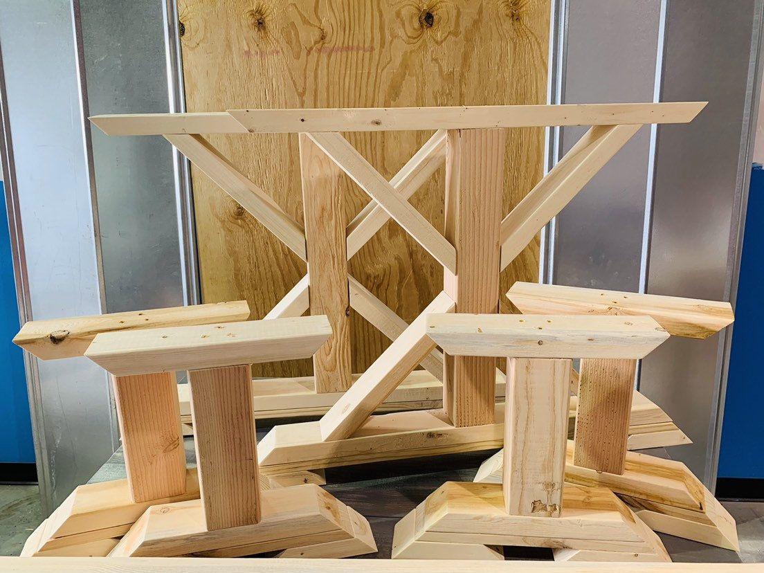 Diy farmhouse table leg set stain yourself raw natural