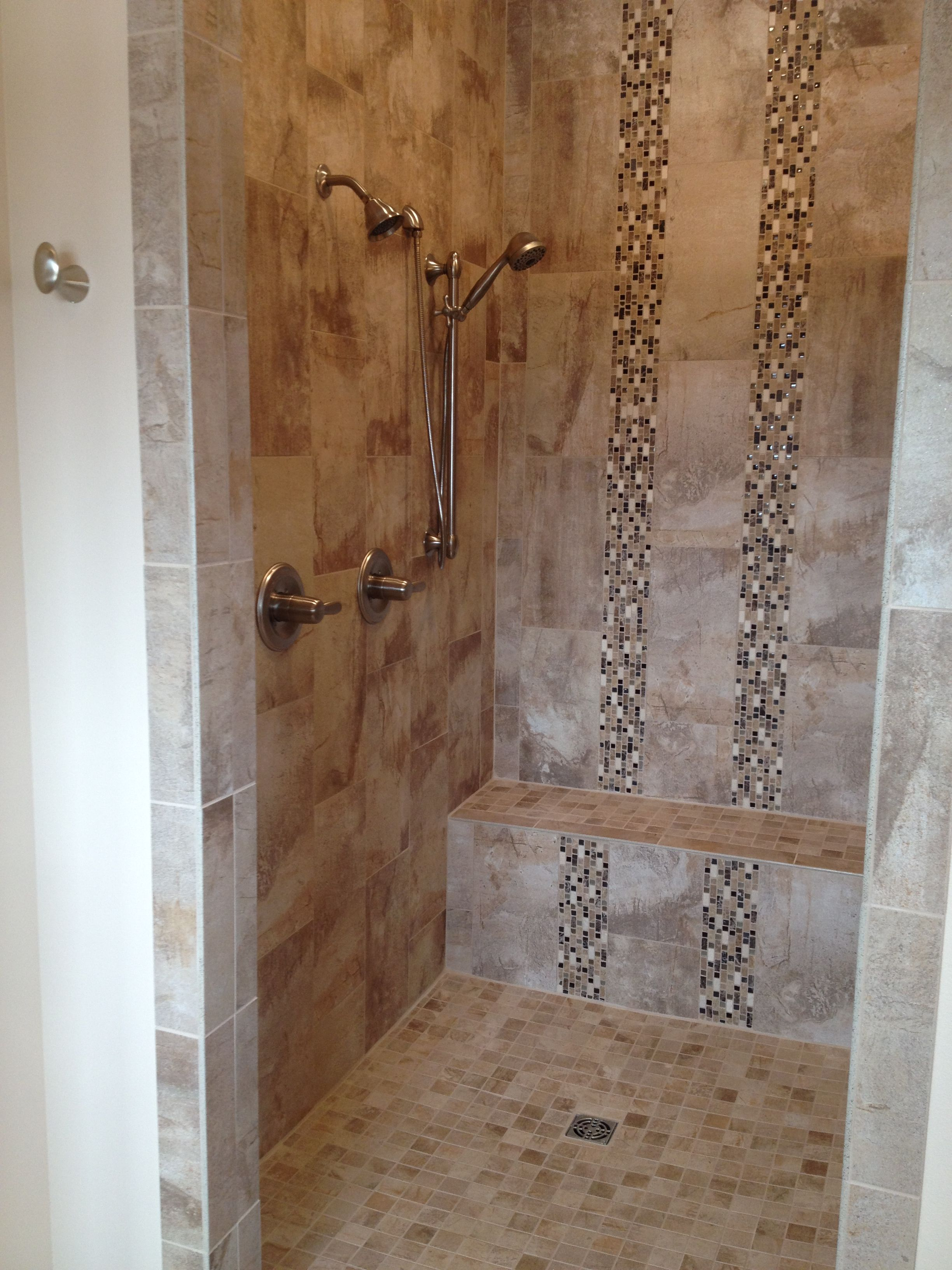 Gerard Homes Custom Tiled Shower With 10x20 Installed At A Vertical Staggered Pattern Accompa Shower Tile Small Bathroom With Shower Small Bathroom Pictures
