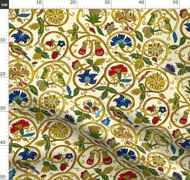 Embroidered Elizabethan Jacket Goldwork - Spoonflower
