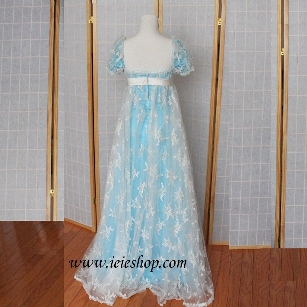 Regency princess ball gown inspired formal evening gown in lace and