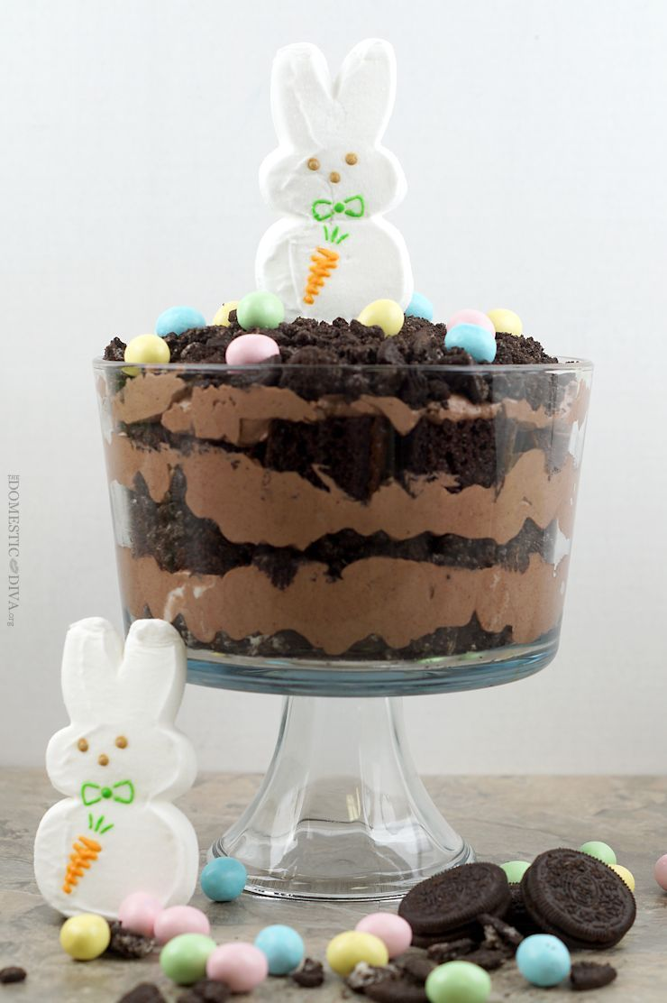 Wouldnt use Easter bunny but Dirt Cake Trifle Recipe would be good with truck on top