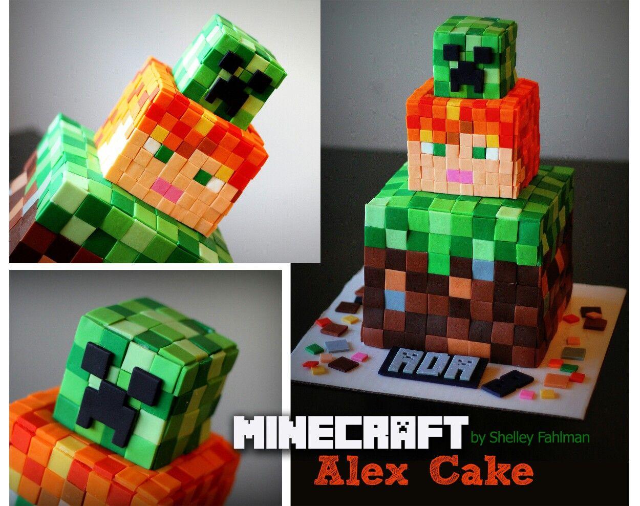 minecraft steve and alex cake
