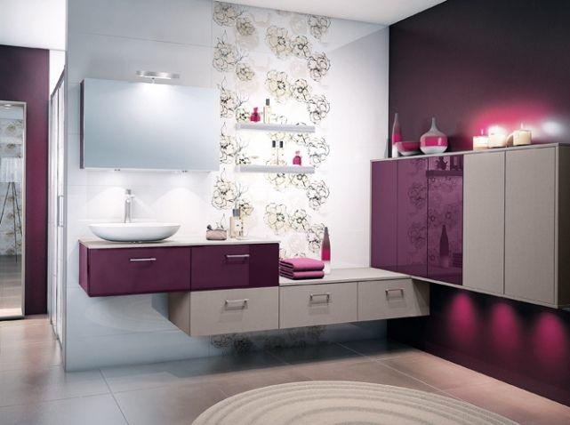Salle de bains violet taupe blanc DÉCORATION ! Pinterest