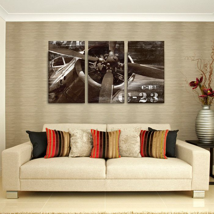 3 Piece Vintage Airplane Canvas Wall Art Like The Idea Of One Pic In Three Downstairs Airplane Wall Art Vintage Airplane Wall Art Decor