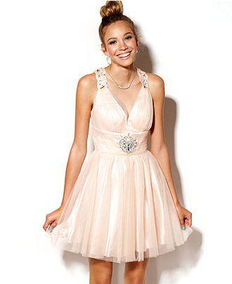 B Darlin Juniors Dress, Sleeveless Tulle Cutout - Juniors Prom ...