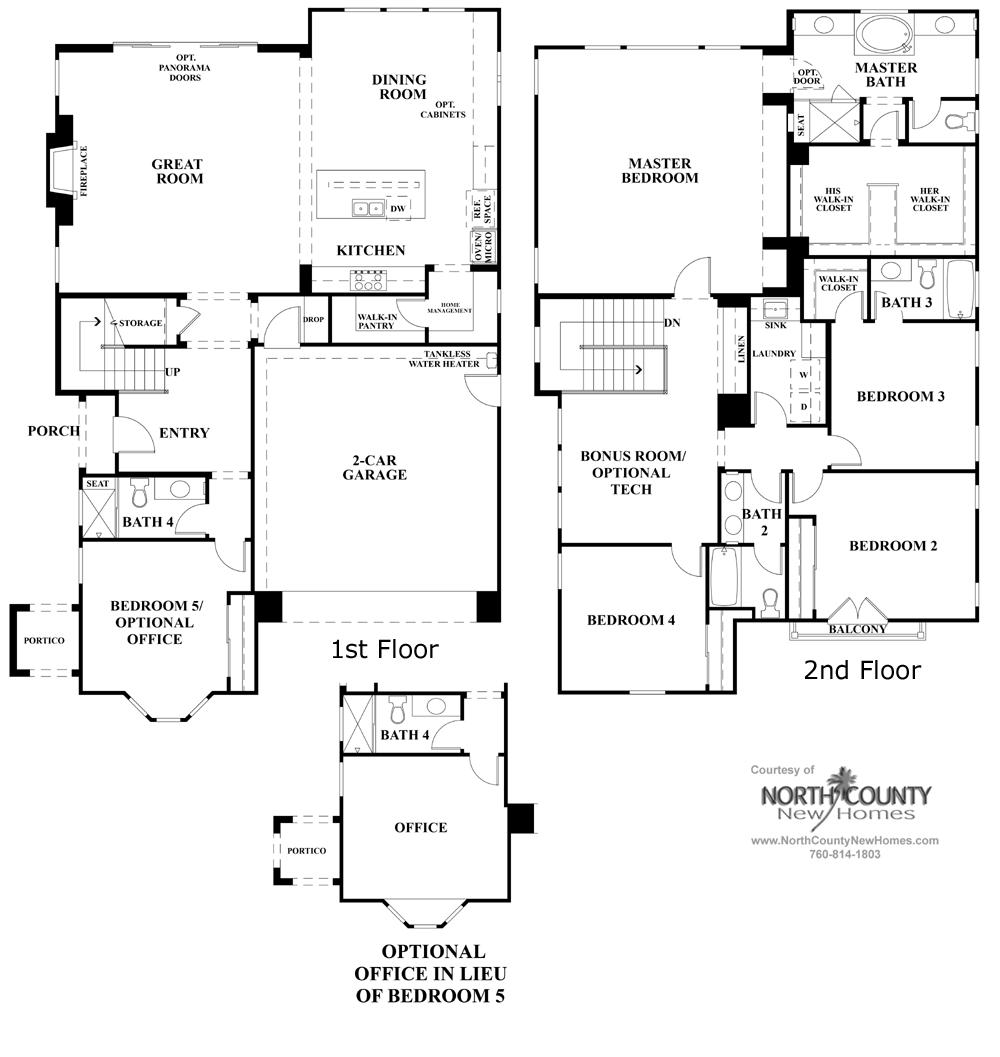 Elms Floor Plan   New Homes In Carmel Valley Residence Three - Floor plans for 5 bedroom homes