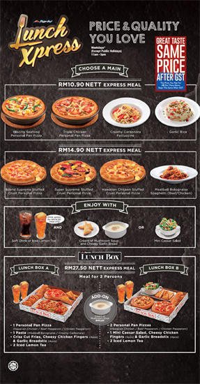 Pizza Hut Lunch Express Promotion In Malaysia Pizza Hut Lunch Pizza Hut Menu