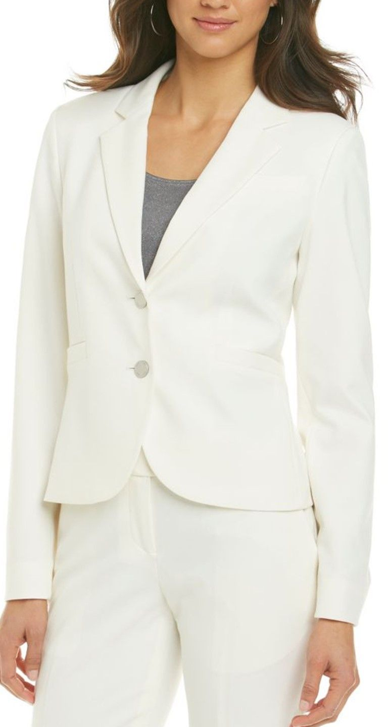 A white CK two button blazer is a must-have in your work wardrobe.