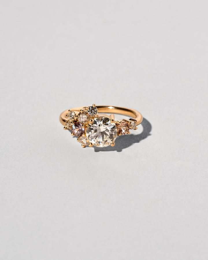 Stacking Champagne Cubic Zirconia Silver Ring Dark Yellow CZ Marquise Stackable Ring 14K Rose Gold Plated Marquise Champagne Diamond Ring