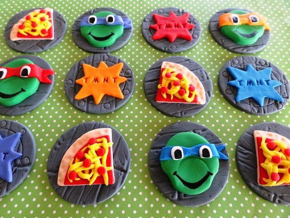 12 Fondant Edible Cupcake Toppers Ninja Turtles By Topcakedecors 29 00 Aniversario