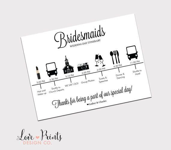 Bridesmaid Wedding Itinerary Printable By Loveprintsdesignco