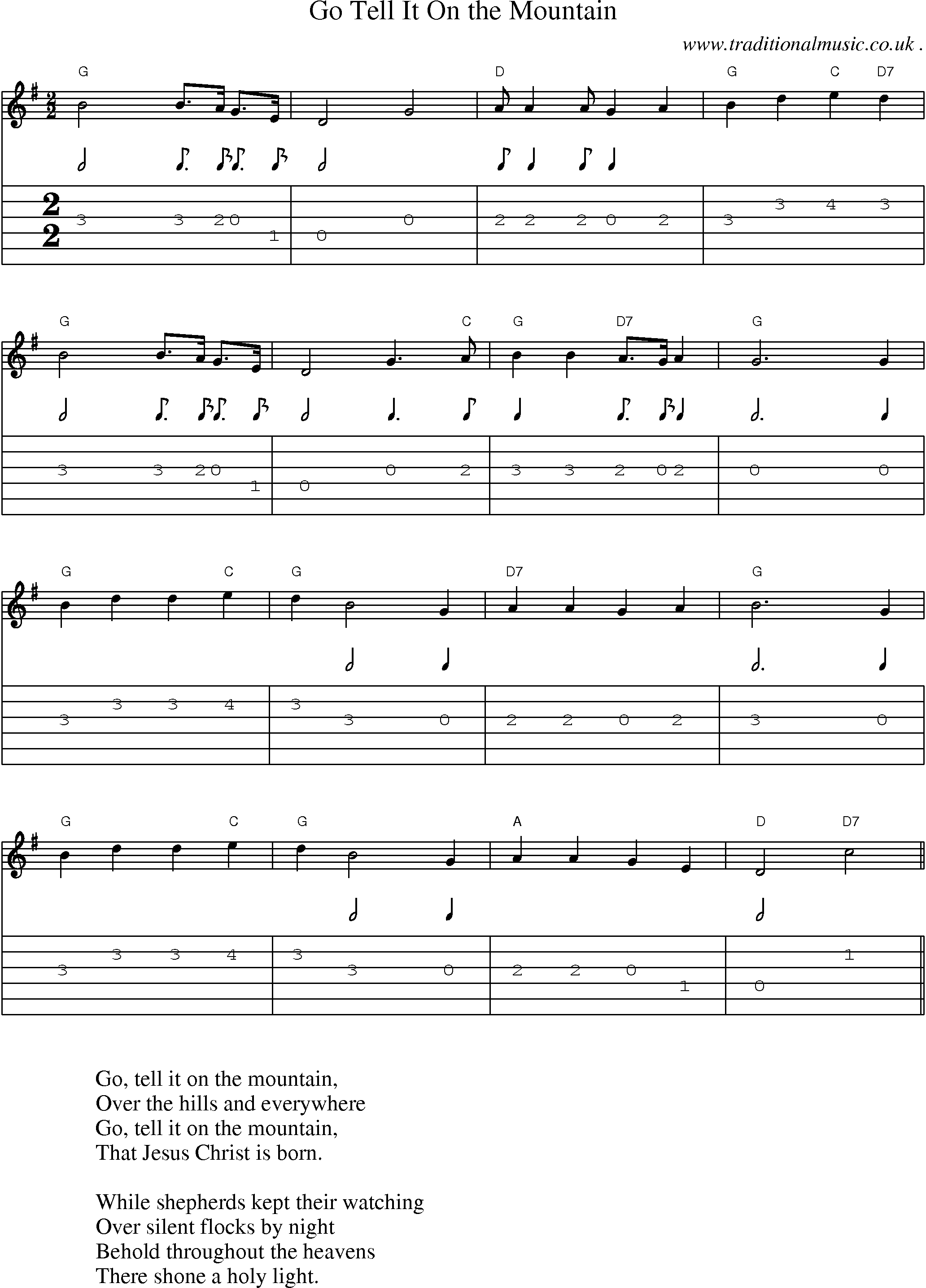 Music Score and Guitar Tabs for Go Tell It On the Mountain ...