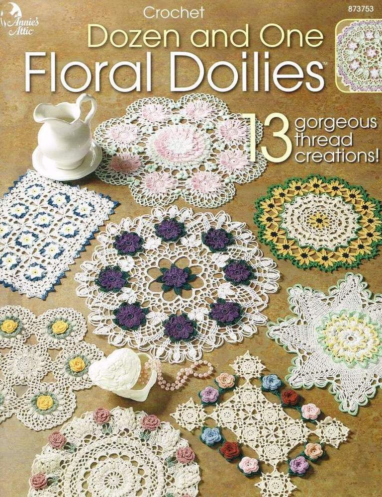Dozen and One Floral Doilies Crochet Pattern Book Annies Roses Daisy ...