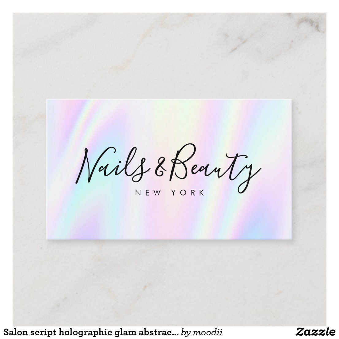 Salon Script Holographic Glam Abstract Iridescent Business Card Zazzle Com Makeup Business Cards Glitter Business Cards Salon Business Cards