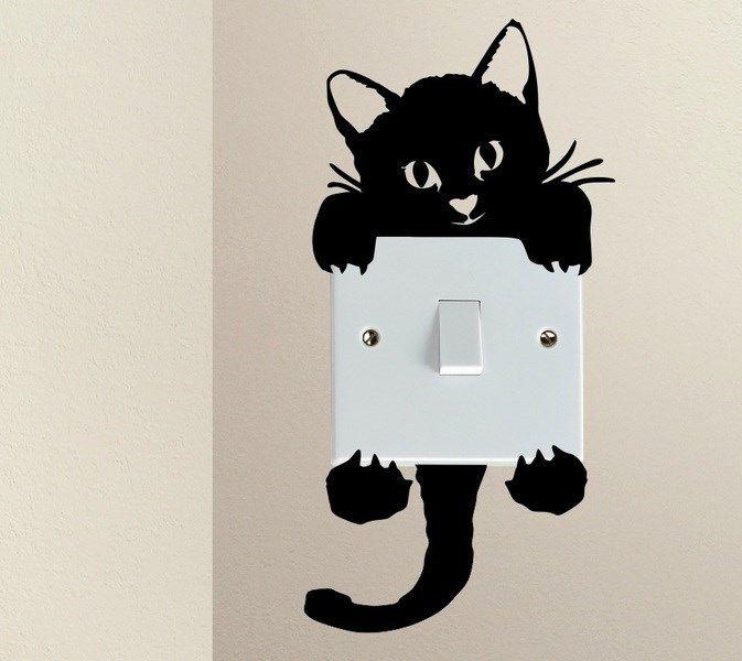 Naklejka Pod Kontakt Włącznik Kot Kotek Na ścianę Inspiracje Do
