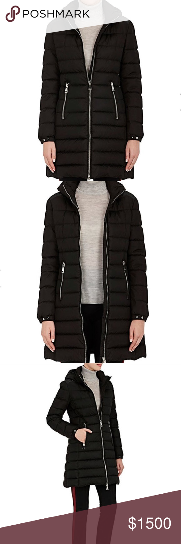 Brand new current season Moncler Orophin Coat in Black!!! Beautiful down coat with leather trim at the shoulder. New with tags!! Size 2 in Moncler.