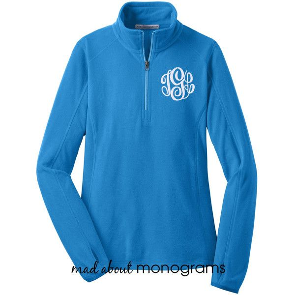 Monogrammed Microfleece Quarter Zip Royal Blue Pullover Preppy Women's... ($35) ❤ liked on Polyvore