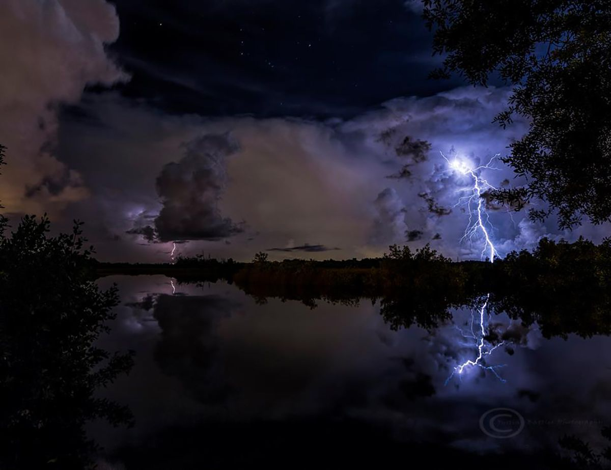 Lightning over the Anclote River in Tarpon Springs