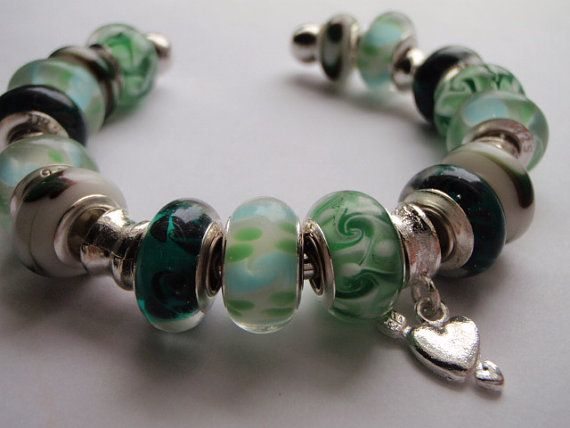 Green and Charm Large Hole Bead Bracelet by Spasojevich on Etsy, $15.00