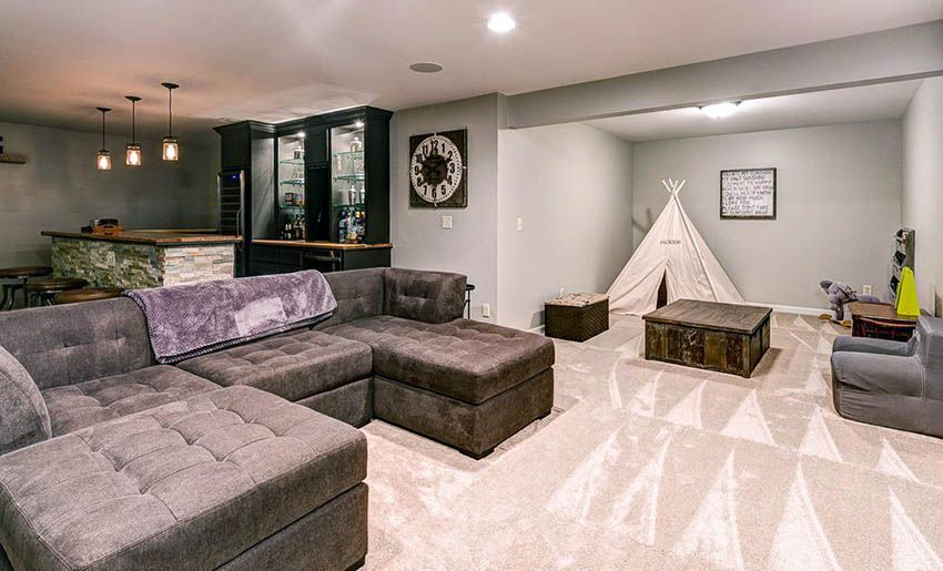 Basement Flooring Ideas Best Design Options Living Room Decor Rustic Basement Living Rooms Living Room Design Inspiration