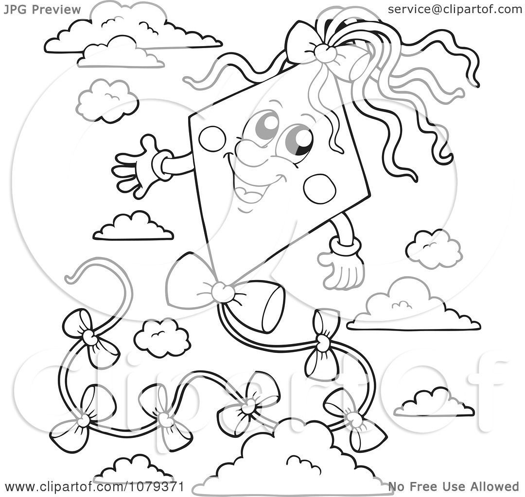 Clipart Outlined Kite In The Sky