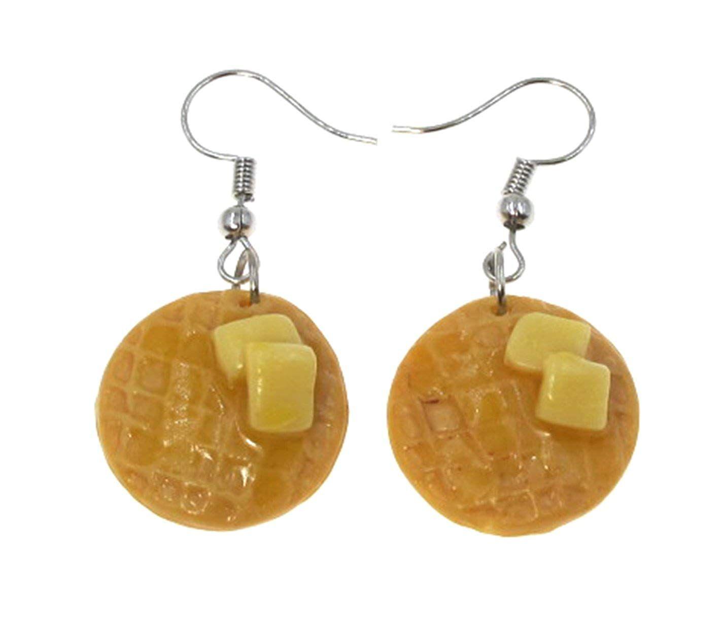 Stud Earrings Clay Jewellery Butter Waffles Foods Jewellery