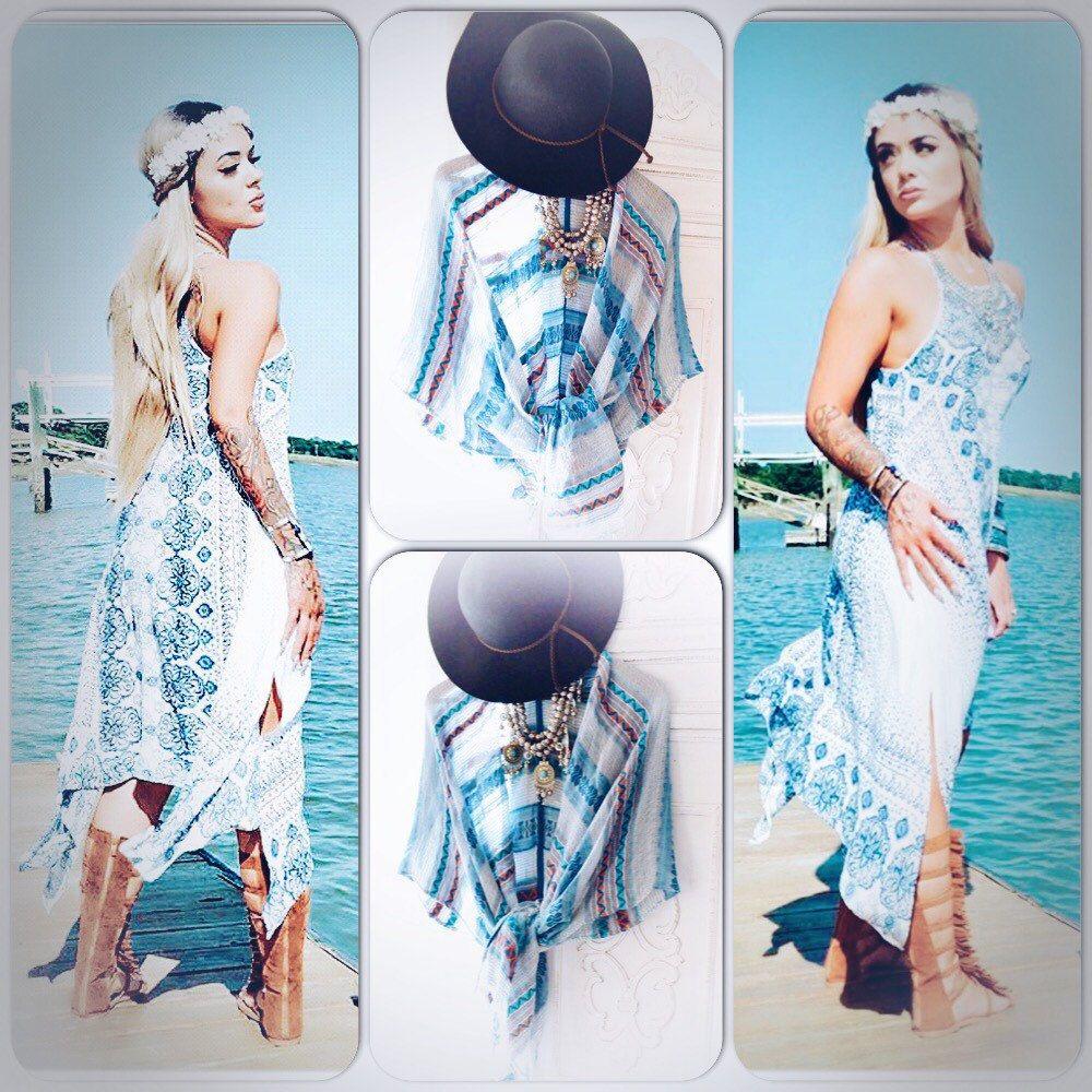 Bohemian beach poncho kimono ~ summer festival trends