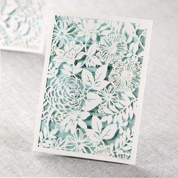 Floral Laser Cut Invitations From B Wedding Ruffledblog Stationery Weddinginvitations