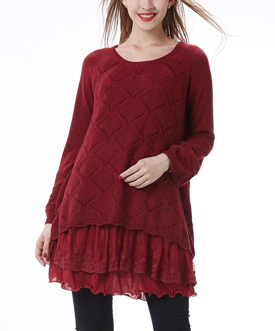 Look at this #zulilyfind! Simply Couture Wine Pointelle Lace ...