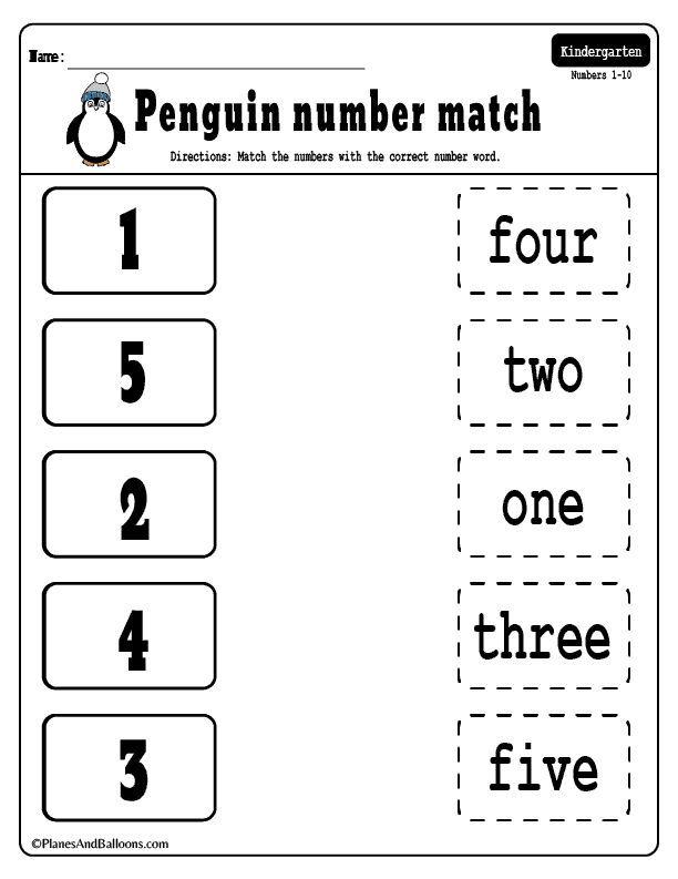 Kindergarten Number Names Worksheet