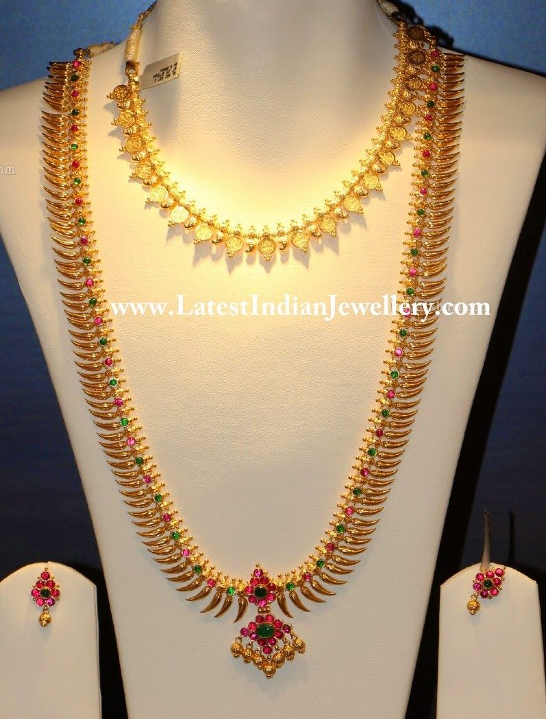 Traditional Lightweight Lavangam Mala and Kasu Necklace | Short ...