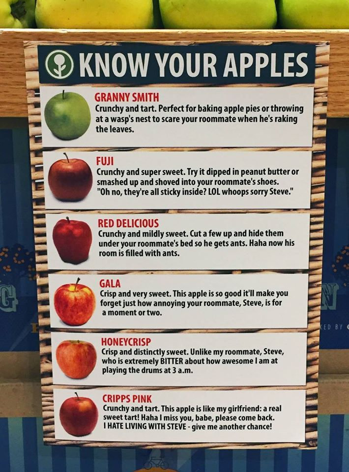 Left In A Whole Foods Know Your Apples Source Obvious Plant Haha Funny Funny Funny Jokes