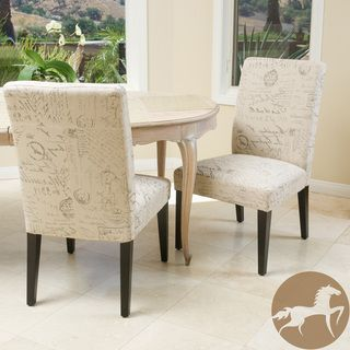 Christopher Knight Home French Script Fabric Dining Chairs