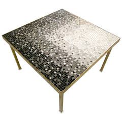Solid Brass and Glass Mosaic Side Table in the style of Edward Wormley C. 1950's