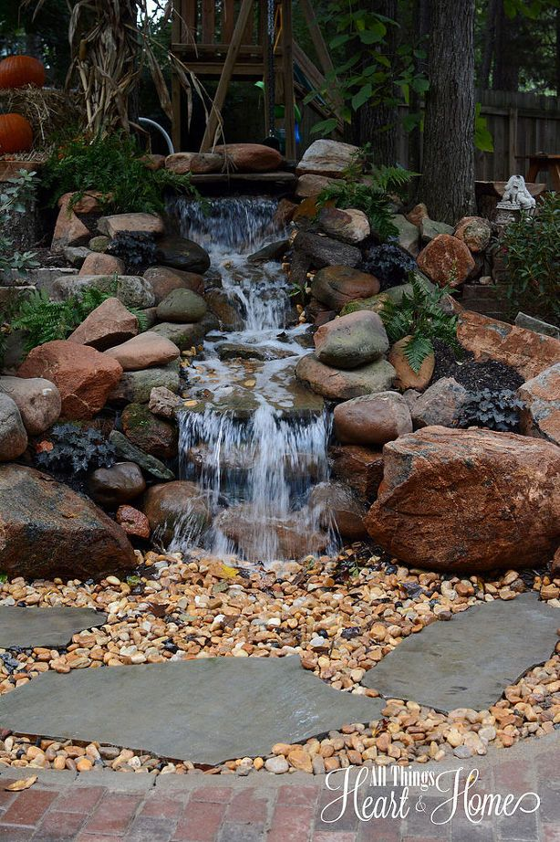diy garden waterfalls riachuelos cascadas para patios jardines