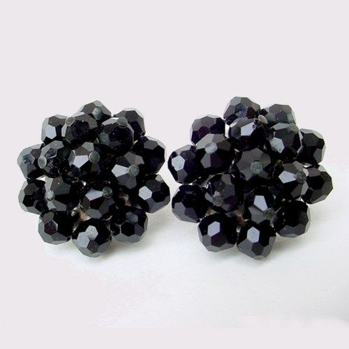 Vintage Pin-Up Black Clip Earrings with Sparkles
