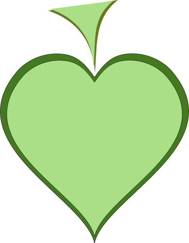Green Heart With Dark Green Thick Line Border Vector Illustration Vector Illustration Line Border Illustration