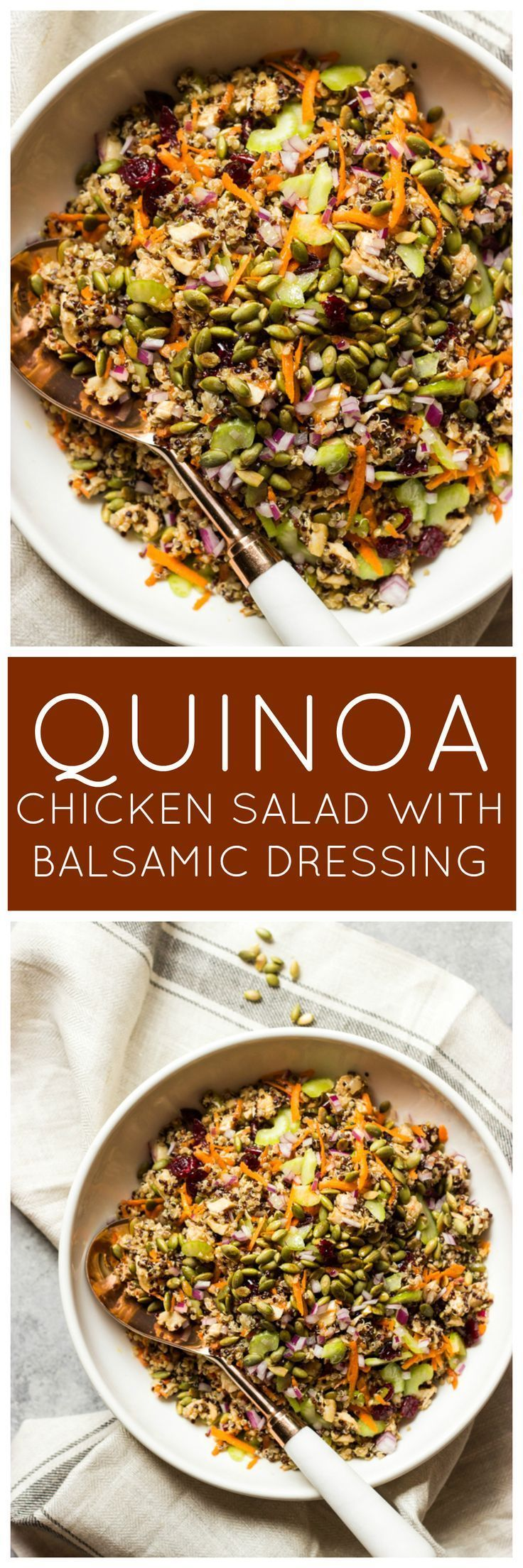 Quinoa Chicken Salad With Balsamic Dressing Little Broken Recipe Salad With Balsamic Dressing Chicken Quinoa Salad Chicken Salad Recipes