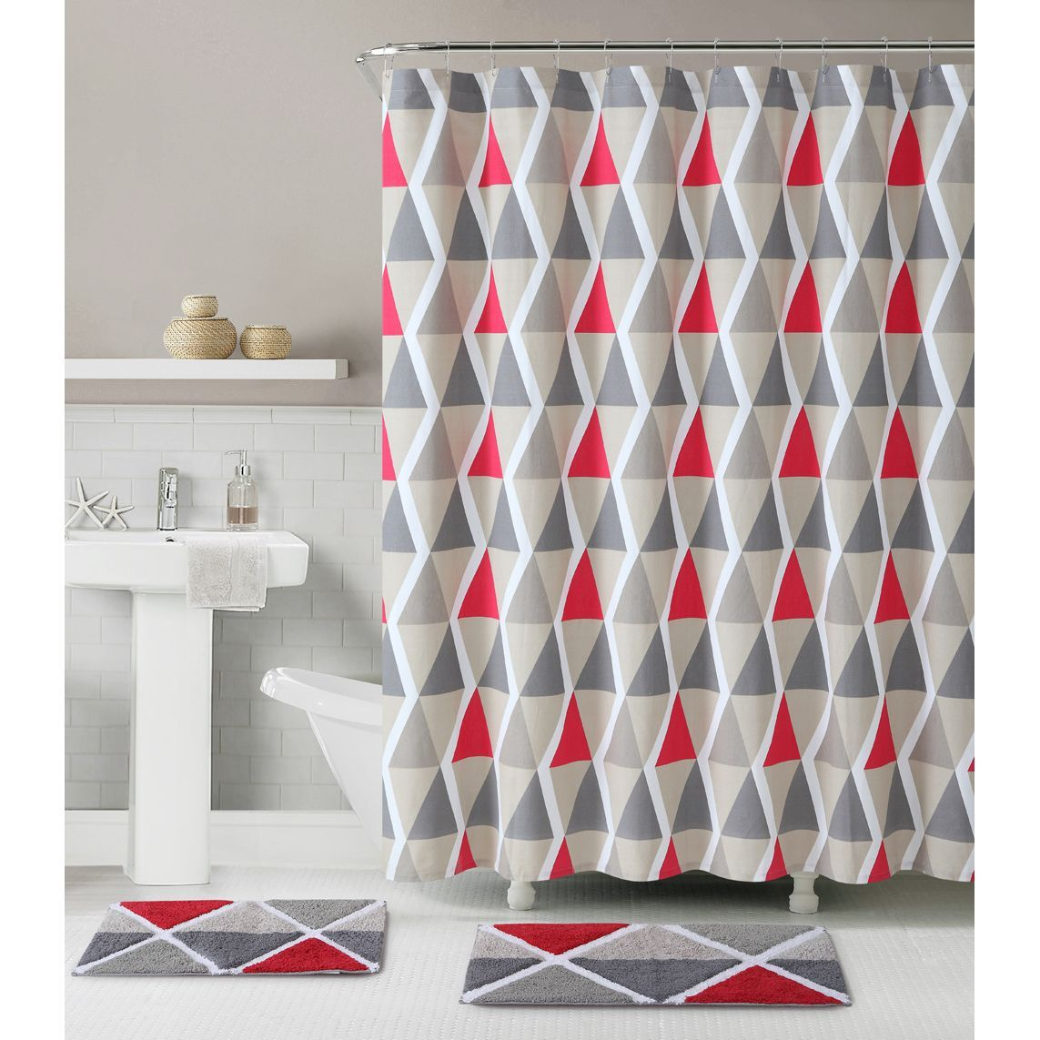 Grayson silver gray jacquard fabric cloth bathroom bath shower curtain - Give Your Bathroom A Fresh New Look With This Fun Le Croix Bath Set Featuring A Multi Color Geometric Shower Curtain And A Matching Rug For The Ultimate