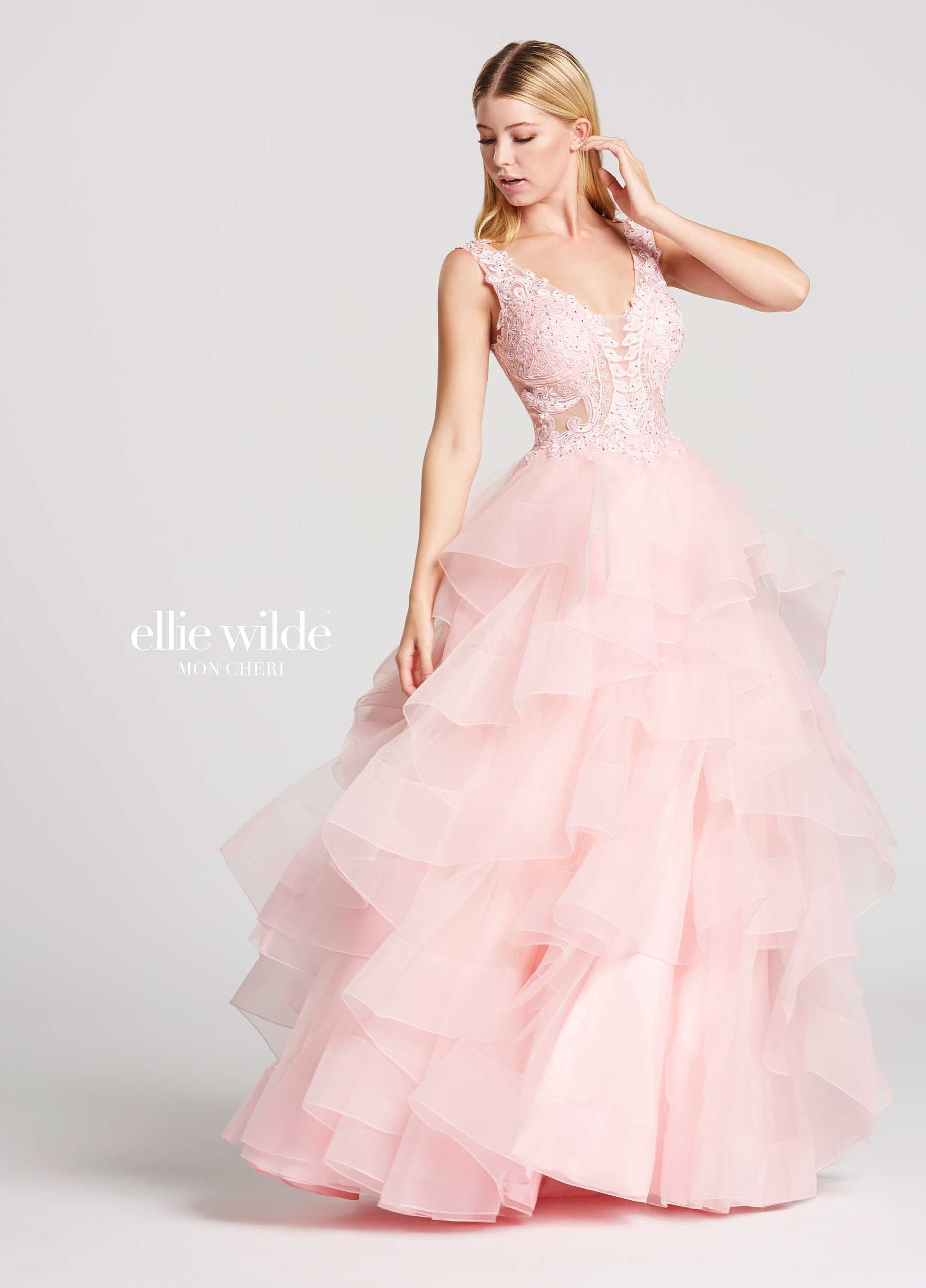 f974451adb6 Ellie Wilde EW117081 - Sleeveless tulle ball gown with lace and heat-set  stone bodice