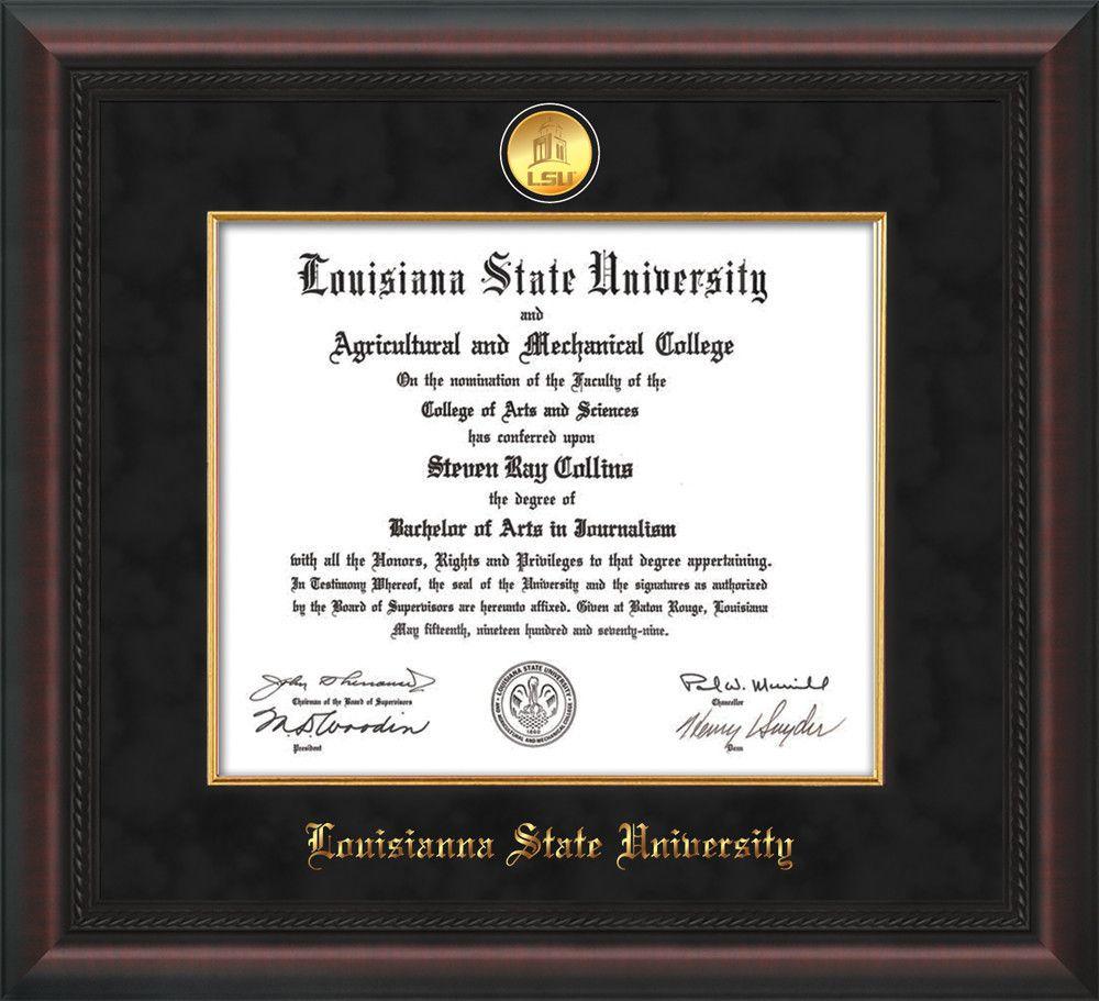 Louisiana State U. Diploma Frame - Mahog Braid - Fillet - Black ...