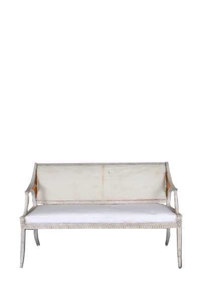 A Small White Painted Gustavian Style Settee With Sofa Benchwhite