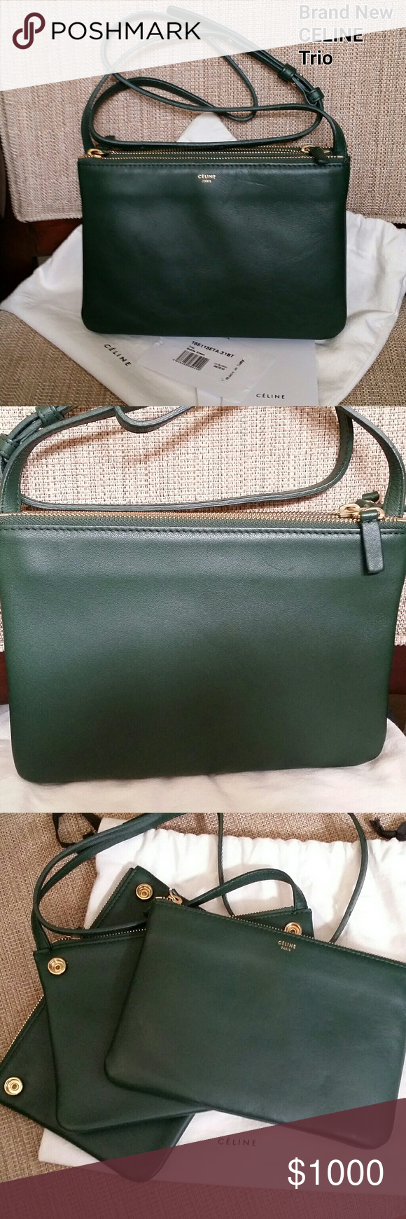 Authentic NWT CELINE Trio TRIO BAG IN SMOOTH LAMBSKIN -Color  Hunter Green  -Crossbody and shoulder carry -Adjustable leather strap with 20 in (51 cm)  drop ... f91ad7be57