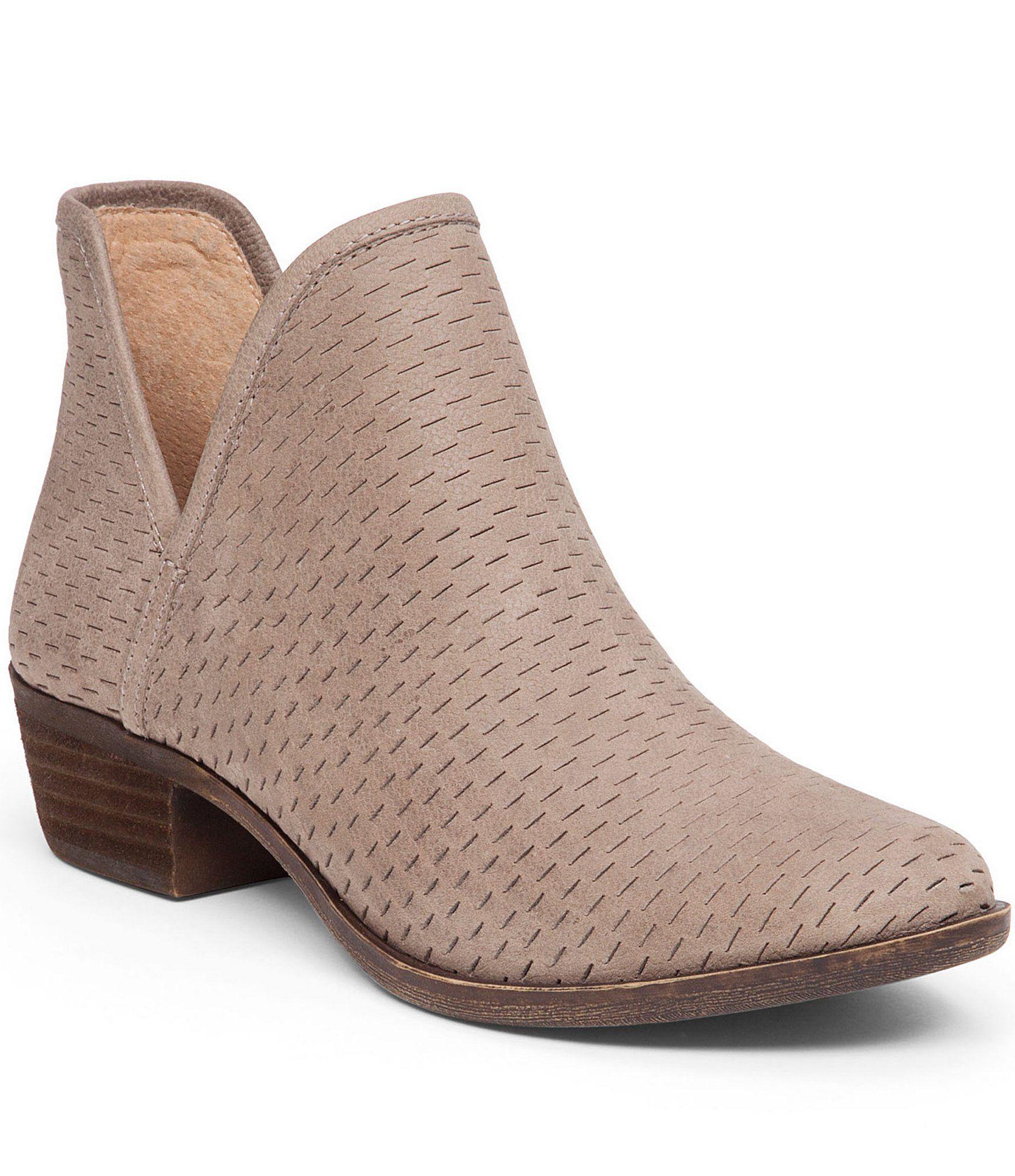 Lucky Brand Bashina Nubuck Leather Block Heel Booties | Dillards
