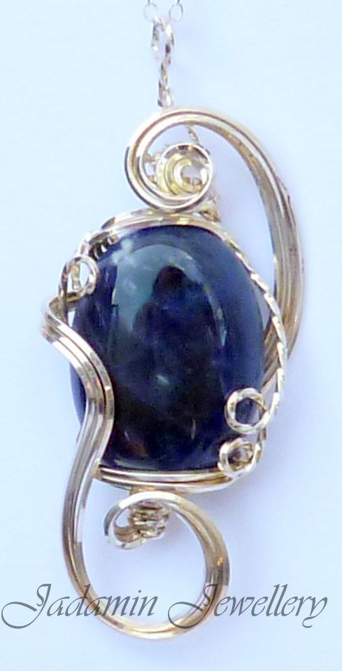 Sculpted Sodalite Wire Wrapped Semi Precious by JadaminJewellery, £30.00
