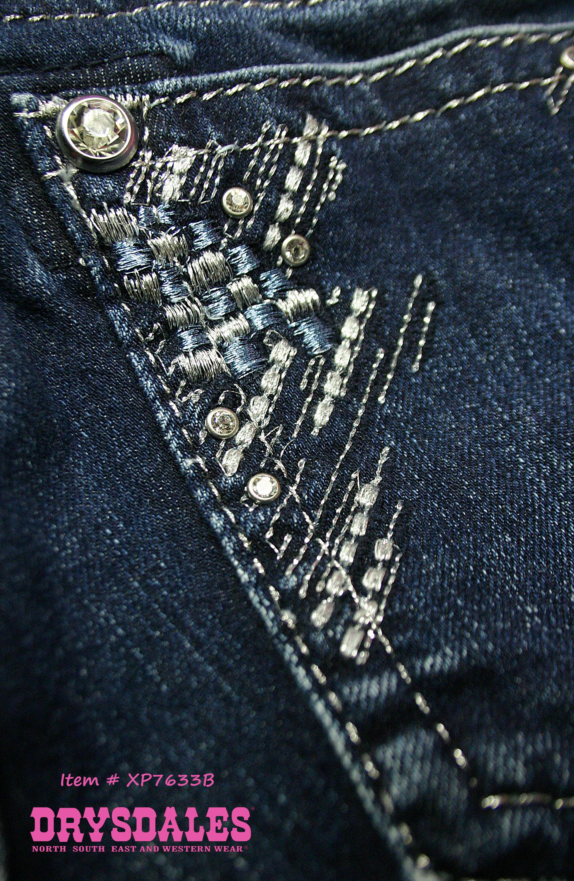 f05a30917f4 Silver and blue abstract embroidery and rhinestone studs Miss Me Women's  Medium Wash Relaxed Fit Boot Cut Jeans Item #:XP7633B #DenimBling back  pocket ...