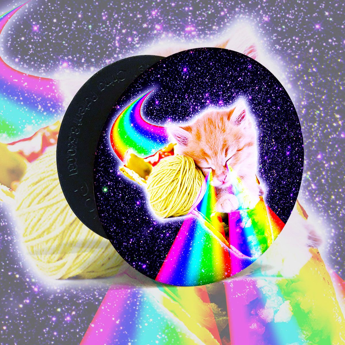 Rainbow Laser Eyes Galaxy Cat Riding Taco Popsockets Grip And Stand For Phones And Tablets Galaxy Cat Popsockets Cats