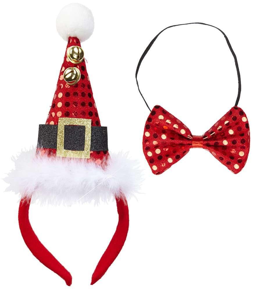 Haarreif mit Rentier Geweih und Fliege zum Kostüm Weihnachten Nikolaus