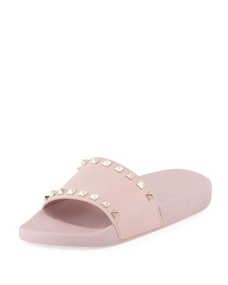 a3f22b79fd4bf VALENTINO Rockstud Pool Slide Sandal, Rose, Water Rose. #valentino #shoes #