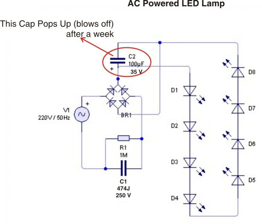 Incredible Ac Powered Led Lamp Free Electronics Circuits Diy Electronics Wiring Cloud Xeiraioscosaoduqqnet